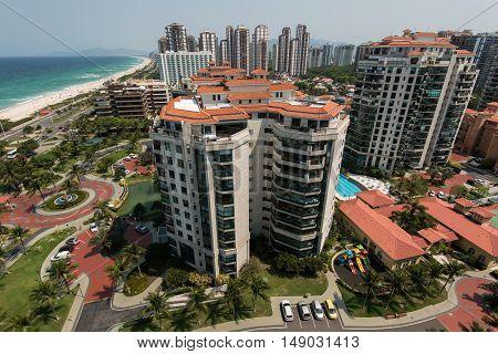 Luxury Apartment Buildings in Front of the Beach in Barra da Tijuca Region, Rio de Janeiro