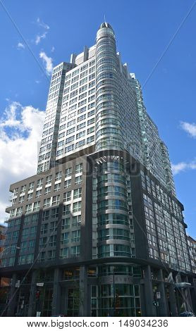 MONTREAL QUEBEC CANADA 09 22 16: Hotel Le Crystal is part of a Montreal building of 28 floors.This structure requires the existence of three condominium cohabiting unions
