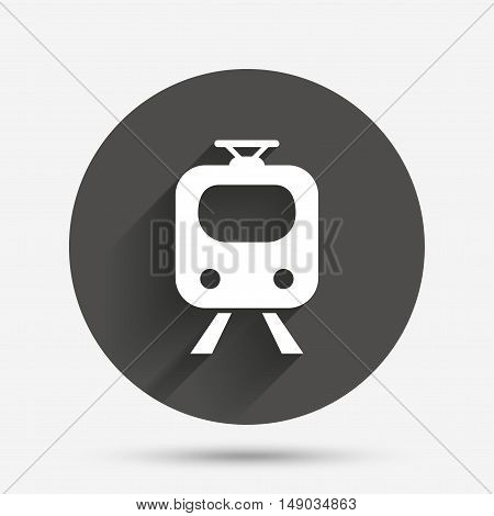 Subway sign icon. Train, underground symbol. Circle flat button with shadow. Vector