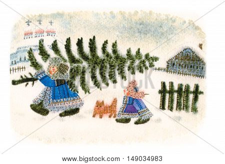christmas in russia folk entertainment naively watercolor