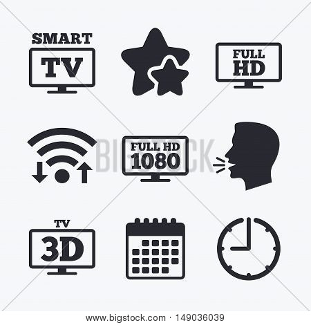 Smart TV mode icon. Widescreen symbol. Full hd 1080p resolution. 3D Television sign. Wifi internet, favorite stars, calendar and clock. Talking head. Vector