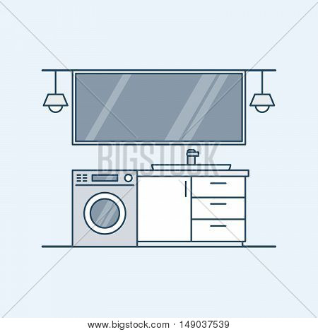 Modern interior of a bathroom with washing machine and sink. A large mirror and lamps. Vector illustration in a linear style, isolated on a gray background