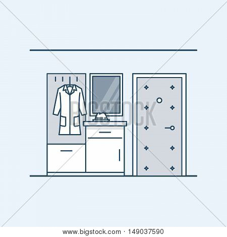 The modern design of the hall. Wardrobe with a bedside table in the hallway near the door. Coat and hat. Vector illustration in a linear style, isolated on a gray background