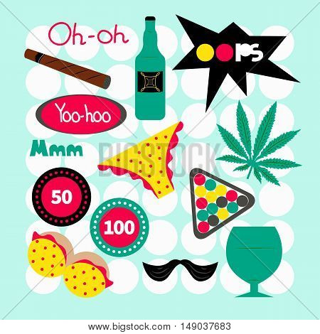 Male pin pop art. Fashion vector set isolated. Patch sticker badge label. Cartoon bottle mustache billiards chips brest lettering glass underwear marijuana Entertainment for bachelor guy