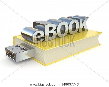 eBook with USB plug. 3D render illustration isolated on white background poster