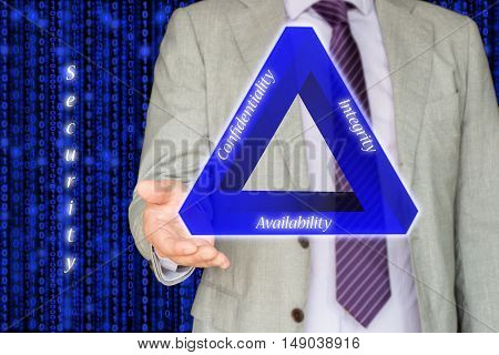 The basic concept of information security the CIA triangle illustrated by an IT expert on blue digital stream background