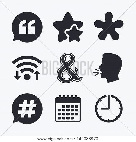 Quote, asterisk footnote icons. Hashtag social media and ampersand symbols. Programming logical operator AND sign. Speech bubble. Wifi internet, favorite stars, calendar and clock. Talking head. Vector