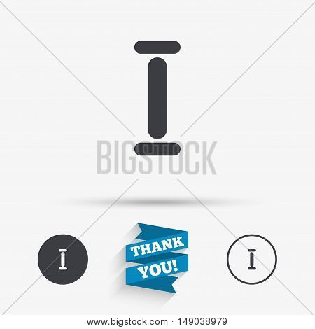 Roman numeral one sign icon. Roman number one symbol. Flat icons. Buttons with icons. Thank you ribbon. Vector