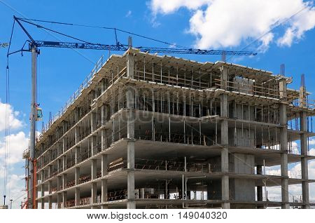 Building Construction and crane with blue sky