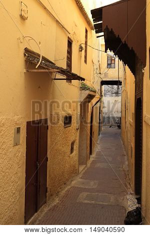 Alley in old city of Moulay Idriss Morocco, Africa