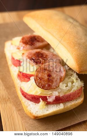Apple sauerkraut and bratwurst sandwich photographed with natural light (Selective Focus Focus one third into the image)