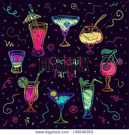 Hand drawn bright sketchy cocktail on blackboard set. Vector illustration