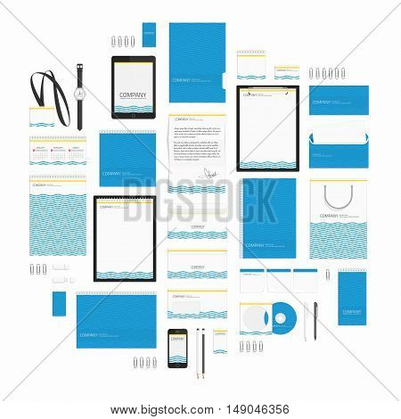 Corporate identity template big set. Documentation for business. Vector, modern company style for brand book and guideline. Branding design concept. Card, catalog, pencil, badge, letterhead and more.