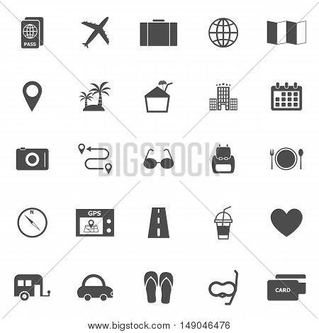 Trip icons on white background, stock vector