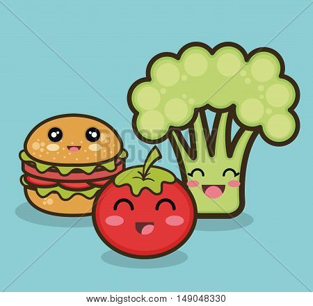 cartoon food fruit vegetable and fast graphic vector illustration esp 10