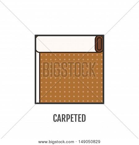 Flat icon of carpeted. Finishing materials and floor coverings. Vector illustration