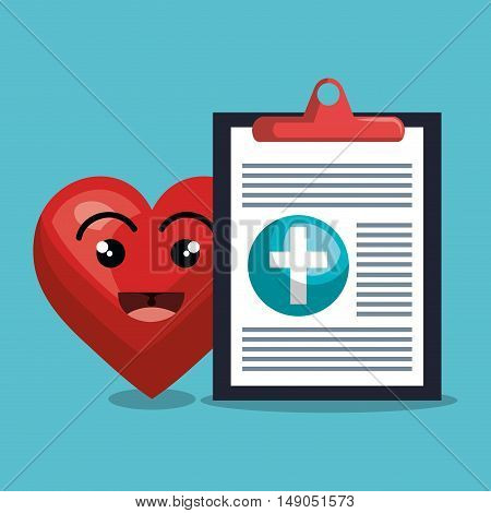 report medical cardiology heart isolated design vector illustration