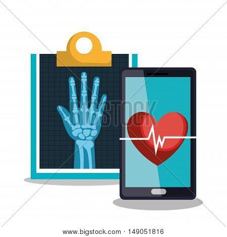 set smartphone and clipboard medical heatlh vector illustration eps 10