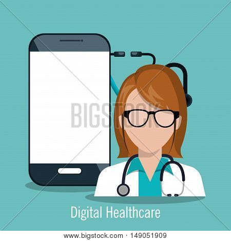 doctor female with smartphone digital healthcare design vector illustration