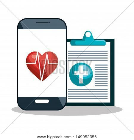smartphone diagnosis cardiology digital healthcare design vector illustration eps 10