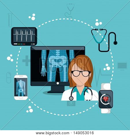 doctor digital healthcare icons design vector illustration eps 10