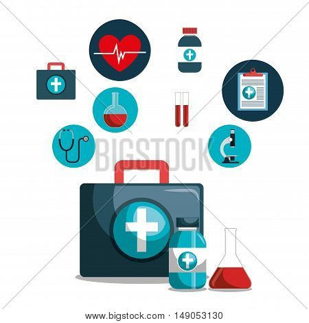 kit icons healthcare medicine design isolated vector illustration eps 10