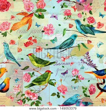 Seamless pattern with vintage style watercolor drawings of birds, flowers - roses, camellias, lilies etc - and butterflies, on old ephemera background - mockups of retro letters and newspaper scraps