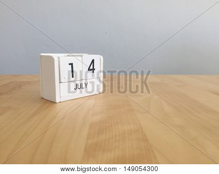 July 14Th.july 14 White Wooden Calendar On Vintage Wood Abstract Background. Summer Day.copyspace Fo