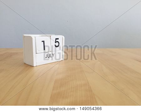 July 15Th.july 15 White Wooden Calendar On Vintage Wood Abstract Background. Summer Day.copyspace Fo