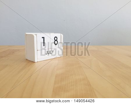 July 18Th.july 18 White Wooden Calendar On Vintage Wood Abstract Background. Summer Day.copyspace Fo