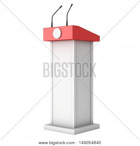 3d Speaker Podium. White and Red Tribune Rostrum Stand with Microphones. 3d render isolated on white background. Debate press conference concept poster