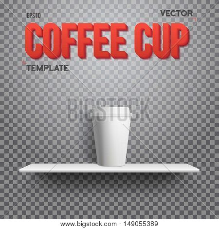 Illustration of Realistic Vector Coffee Cup Takeout Template. White Paper Coffee Cup Mockup on Shelf