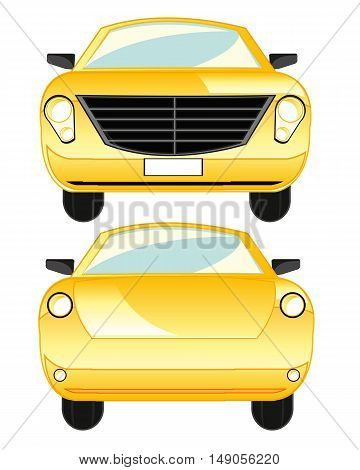 The Yellow passenger car type frontal and behind.Vector illustration