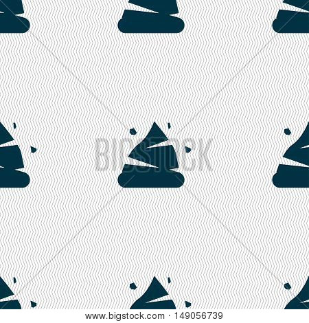 Poo Icon Sign. Seamless Pattern With Geometric Texture. Vector
