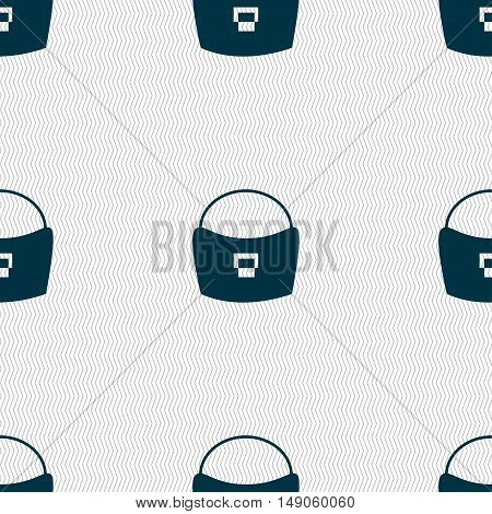 Woman Hand Bag Icon Sign. Seamless Pattern With Geometric Texture. Vector