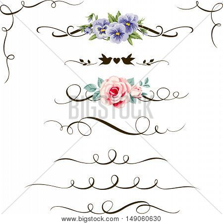 Set of decorative calligraphic floral elements. Vintage flower, divider and corner for your design and page decor