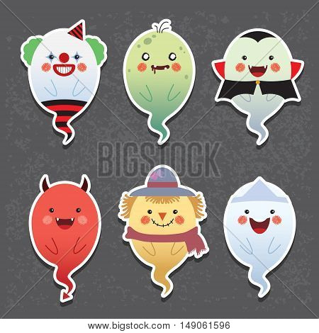 Set of collection of cute ghost with different cosplay: clown, zombie, vampire, devil, scarecrow and japanese ghost. Cartoon halloween ghosts vector icon set.
