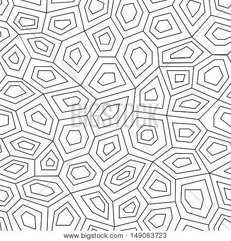 Geometric low poly graphic repeat pattern made out of hexagon facets. Vector pattern.