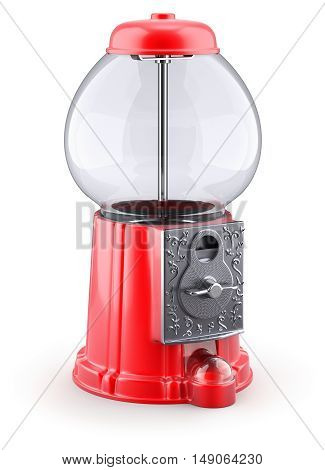 Empty red gumball machine on white background - 3D illustration