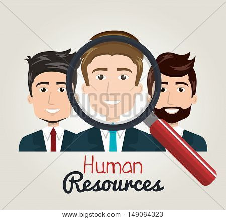 men cartoon human resources search find vector illustration