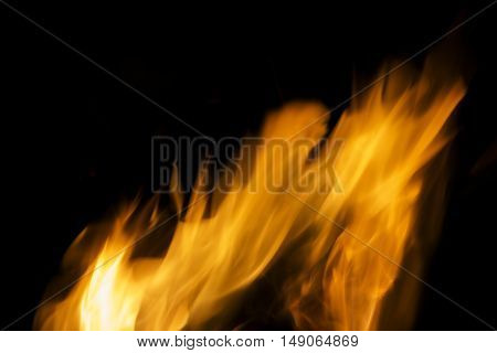 Photo of hot sparking live-coals burning, spark of bonfire.