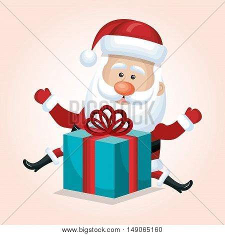 santa claus with box gift blue isolated vector illustration