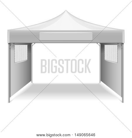 White empty folding tent, marquee vector template. Mockup shelter from sun for beach and gearden illustration