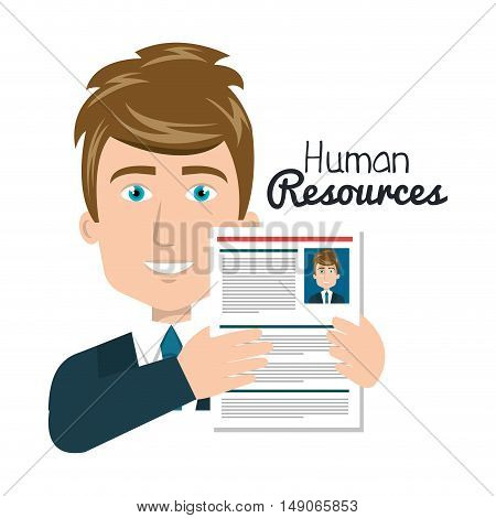 character man with cv human resources vector illustration
