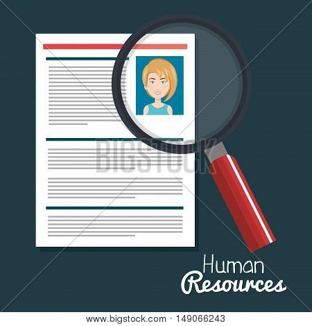 human resources woman search choose curriculum vector illustration