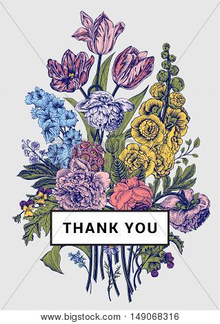 Vintage floral card. Victorian bouquet. Colorful peonies mallow delphinium roses tulips violets petunia. Thank you. Vector illustration.