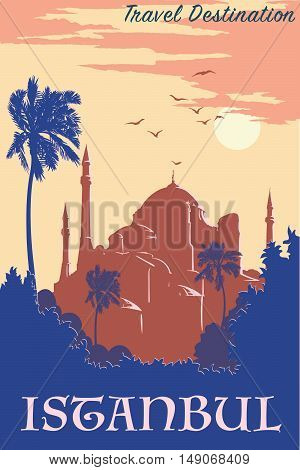 Panorama of Istanbul at dusk with silhouettes of trees and Hagia Sophia. Retro poster design. Vintage style poster. EPS10 vector illustration.