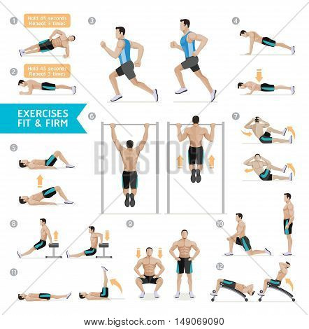 Man workout fitness, aerobic and exercises. Vector Illustration.