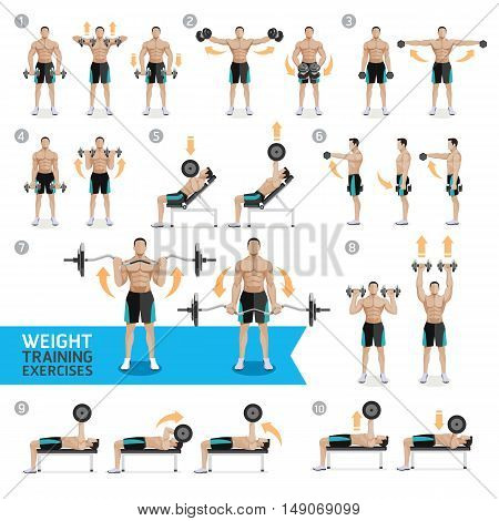 Dumbbell Exercises and Workouts WEIGHT TRAINING. Vector Illustration.