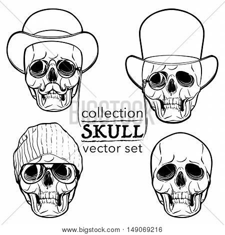 Hipster style human skull set. Hand drawn sketch isolated on a white background. Halloween concept art. EPS10 vector illustration.